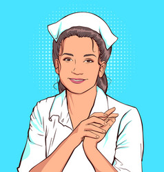 Shy nurse woman in white coat vector