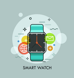 Smart watch surrounded by application icons vector