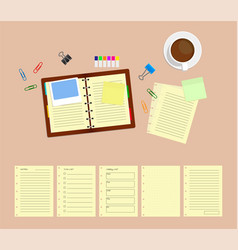 top view template of workplace with note cup of vector image vector image