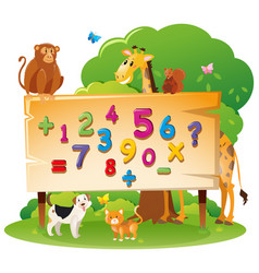 wild animals and many numbers on board vector image