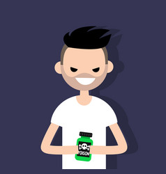 young angry character holding a bottle with a vector image