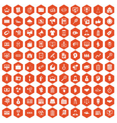 100 partnership icons hexagon orange vector image vector image