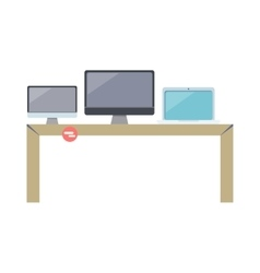 Table with computer devices vector