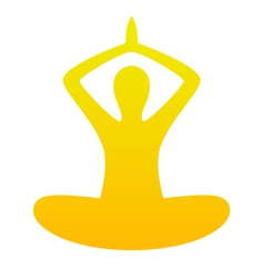 Yoga simple silhouette isolated on white - orange vector image