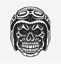 Skull rider in helmet with goggles vector