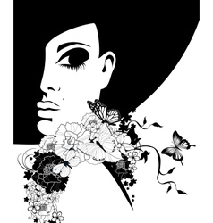 Woman in a black hat with flowers and butterflies vector