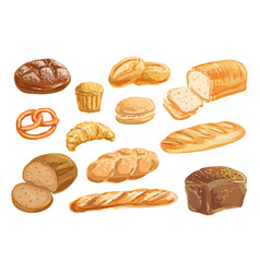 Bread and bakery product watercolor drawing set vector
