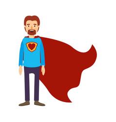 Colorful image caricature full body super dad hero vector