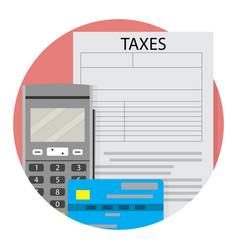 Remote taxation icon app flat vector