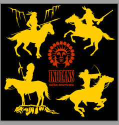 Wild west silhouettes - native american warriors vector