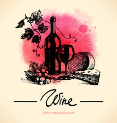 Wine vintage background watercolor hand drawn vector