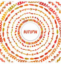 Autumn background circle hand drawn frame vector