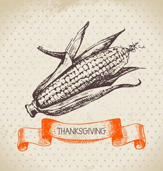 Hand drawn vintage Thanksgiving Day background vector image