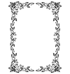 Frame leaves flowers vector