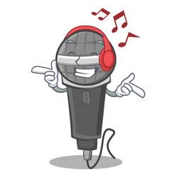 Listening music microphone cartoon character vector