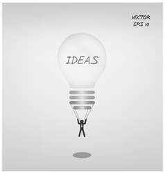 Light bulb parachute with businessman vector