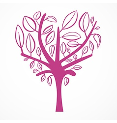 Abstract heart shaped tree on white background vector
