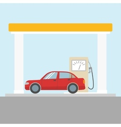 Car at the gas station vector