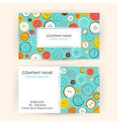 Business card with sewing buttons vector