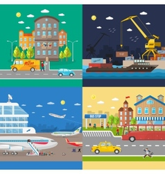 Transportation of passengers and goods delivery vector