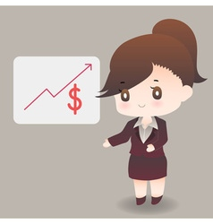 Cute cartoon or mascot businesswoman points vector