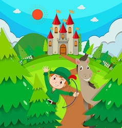Castle scene with hunter and horse vector