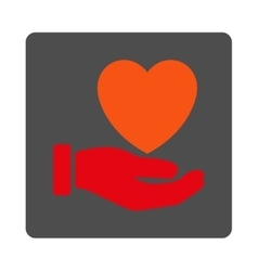 Heart charity rounded square button vector