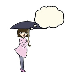 Cartoon woman with umbrella with thought bubble vector