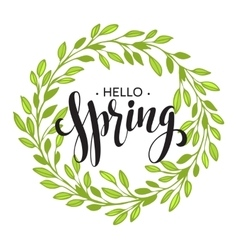 Words spring with wreath branchesleaves vector