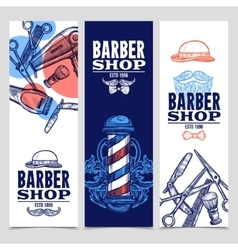 Barber shop 3 vertical banners set vector