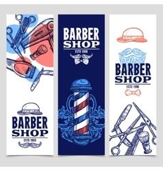 Barber Shop 3 Vertical Banners Set vector image