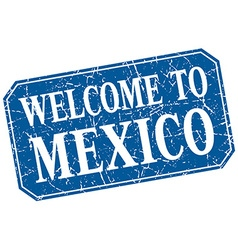 Welcome to mexico blue square grunge stamp vector