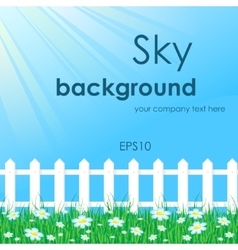 Blue sky with white fence vector