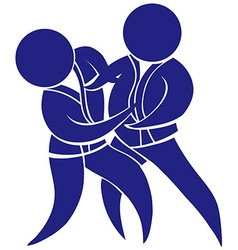 Sport icon for taekwondo in blue vector