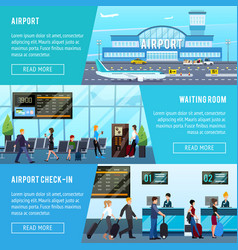 Airport horizontal banners set vector