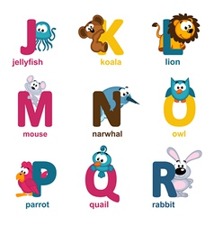 alphabet animals from J to R vector image vector image