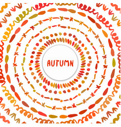 autumn background circle hand drawn frame vector image vector image