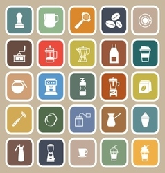 Barista flat icon on brown background vector