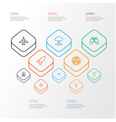 battle outline icons set collection of dynamite vector image