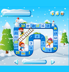 Boardgame template with kids playing in snow vector