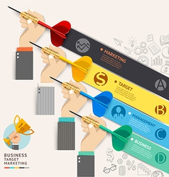 Business hand with dart and doodles icons vector image vector image
