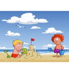 Children on the beach vector