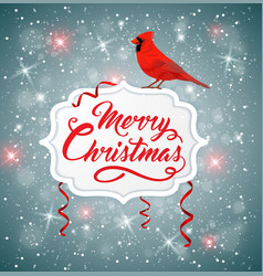 christmas banner with red cardinal vector image vector image