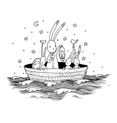 Cute little hares and hedgehog floating in a boat vector
