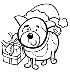 Cute puppy on christmas coloring book vector