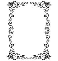 Frame leaves flowers vector