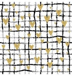 Gold glittering heart seamless pattern vector
