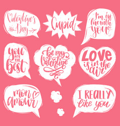 Hand lettering phrases love is in the air vector