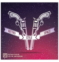 Just two revolver on space background vector