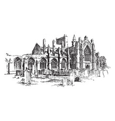 Melrose abbey vintage vector